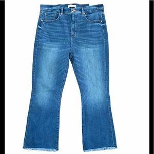 Loft High Waist Raw Hem Flare Crop Jeans
